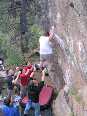 Jody ODonnell taking a spill off Captain America - Widgi Creek Bouldering