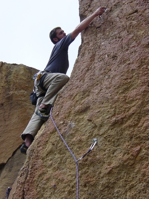 Travis Wiggins climbing an unnamed 5.10b - Smith Rock