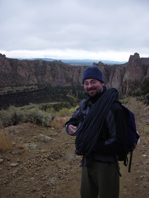 Joel Hass trying to stay warm and cheerful after hiking out to Koala Rock - Smith Rock - Climbing Oregon