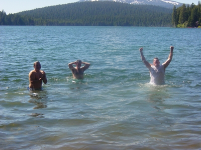 Matt Lokey, Joe Baker and Jay Gorsegnor freezing in Lake of the Woods - Klamath Falls