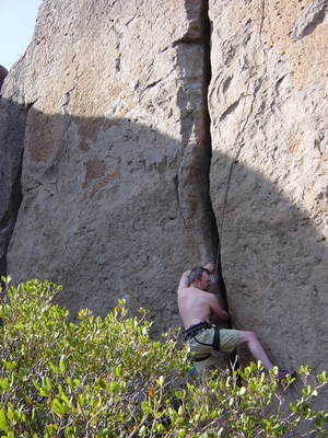 Joel Hass climbing Indian Stacking - Meadow Camp - Climbing Oregon
