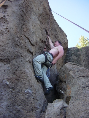 Jody O'Donnell climbing at Meadow Camp - Climbing Oregon