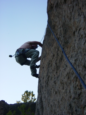Jody O'Donnell climbing on a nice finger crack - Meadow Camp - Climbing Oregon
