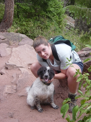 Linda O'Donnell and Sammy, Flatirons - Hiking Colorado