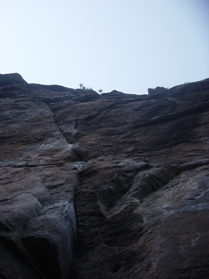 Looking up the crack at Widgi Creek - Bouldering Oregon