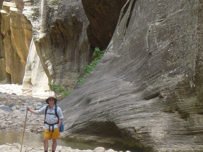 Jody O'Donnell hiking The Narrows - Zion National Park, Utah