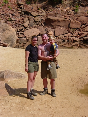 Tanis, Linda and Jody O'Donnell at the Emerald Pools - Zion National Park, Utah