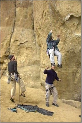 Eric and Travis Wiggins catching Jody O'Donnell as he plummets off of Herecy - Christian Brothers - Smith Rock - Climbing Oregon
