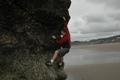 Jody O'Donnell bouldering on Canon Beach